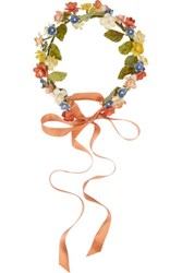 Eugenia Kim Anais Floral Ribbon Headband Orange