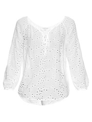 Velvet By Graham And Spencer Londa Broderie Anglaise Lace Up Blouse White