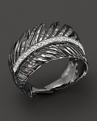 Michael Aram Rhodium Plated Sterling Silver Feather Band Ring With Diamonds