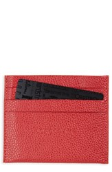 Longchamp Women's 'Le Foulonne' Pebbled Leather Card Holder Red Vermillion