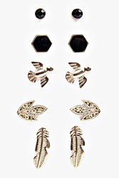 Boohoo Mixed Bird And Stone Stud Earring Set Gold