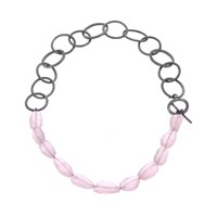 Nancy Rose Jewellery Rose Quartz Ellipse Necklace Black Silver Pink
