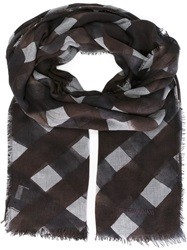 Giorgio Armani Lattice Print Scarf Brown