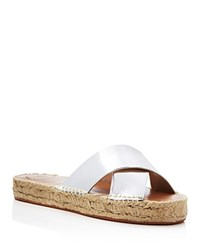 French Connection Metallic Crisscross Espadrille Slide Sandals Silver