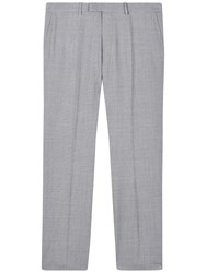 Jaeger Wool Puppytooth Modern Suit Trousers Pale Steel