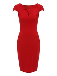 Jane Norman Keyhole Neck Dress Red