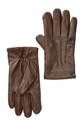 Cole Haan Spliced Leather Gloves Brown
