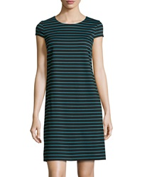 Marc New York By Andrew Marc Striped Cap Sleeve Ponte Shift Dress Cyan