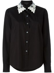 Marc Jacobs Contrasted Embroidered Collar Shirt Black