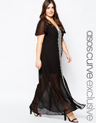 Asos Curve Premium Maxi Dress With Graphic Folk Embroidery Black