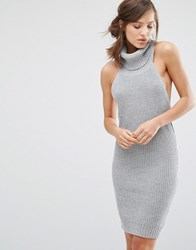 Parallel Lines Sleeveless Jumper Dress With High Roll Neck Grey