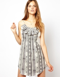 By Zoe Printed Mini Dress With Ruffle Front Offwhite