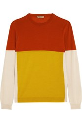 Bottega Veneta Color Block Merino Wool Sweater Yellow