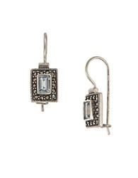 Lord And Taylor Square Stone Earrings Topaz Silver
