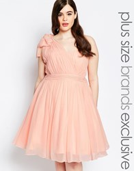 Forever Unique Plus One Shoulder Pleated Prom Dress Pink