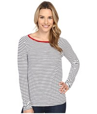 Jag Jeans Brier Stripe Tee Classic Fit Shirt Striped Jersey White Navy Women's T Shirt