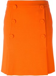 Boutique Moschino Folded Double Buttoned Skirt Yellow And Orange