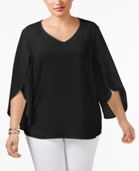 Ny Collection Plus Size Tulip Sleeve Chiffon Blouse Black