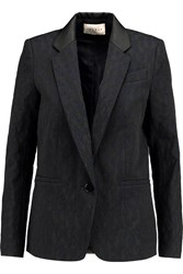 Sandro Valeria Embroidered Faille Blazer Black