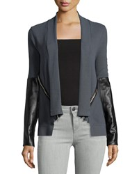 Milly Leather Sleeve Angled Zip Cardigan Slate Gray