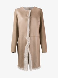 Yves Salomon Reversible Shearling Lined Leather Coat Beige Salmon Leopard White