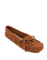 Minnetonka Kilty Suede Driver Moccasins Brown