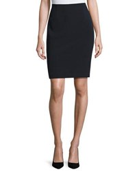 Neiman Marcus Aleena Crepe Pencil Skirt Navy