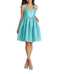 Donna Morgan Halter Fit And Flare Dress Turquoise