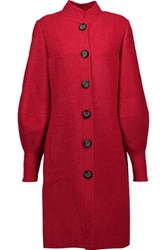 Oscar De La Renta Wool Blend Coat Red