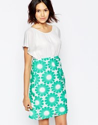 Traffic People Send Me No Flowers Reckless Dress With Floral Crochet Skirt Green