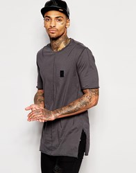 Religion Longline T Shirt With Badge And Side Split Grey