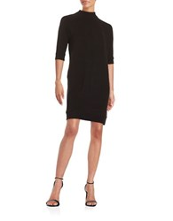 French Connection Ribbed Mockneck Shift Dress Black