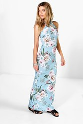 Boohoo Floral Printed High Neck Maxi Dress Blue