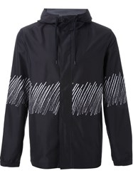 T By Alexander Wang Scribble Print Hooded Jacket Black