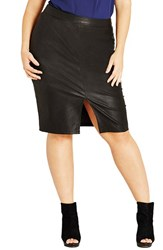 City Chic Plus Size Women's Front Slit Faux Leather Pencil Skirt