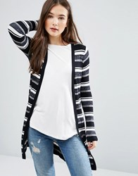 Brave Soul Striped Knit Cardigan Black Cream Grey