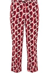 Miu Miu Cropped Printed Silk Crepe De Chine Straight Leg Pants