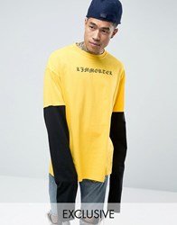 Reclaimed Vintage Oversized Long Sleeve T Shirt With Text Print Yellow