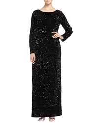 Chetta B Sequin Stretch Maxi Dress Velvet Black