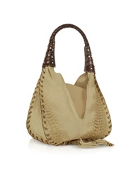 Ghibli Jeweled Beige Suede And Reptile Leather Hobo Bag White