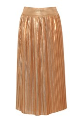 Hotsquash Clever Lined Metallic Pleated Midi Skirt Copper