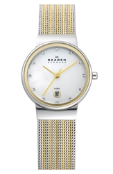 Skagen 'Ancher' Round Two Tone Mesh Watch 26Mm X 32Mm Gold Silver