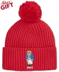 Polo Ralph Lauren Ski Bear Pom Knit Cuffed Beanie Tudor Red