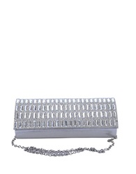 Sasha Metallic Satin Clutch Silver