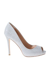 Badgley Mischka Ponderosa Metallic Peep Toe Pumps Silver