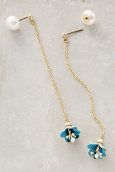 Les Nereides Chained Lotus Earrings Blue