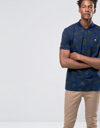 Wood Wood Brian Rip Print Polo Rip Dress Blues