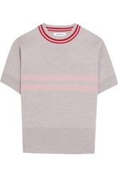 Tim Coppens Striped Merino Wool Sweater Light Gray