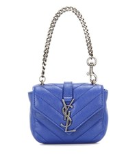 Saint Laurent Mini College Chain Wallet Quilted Leather Handbag Blue