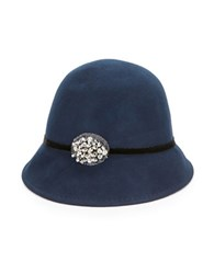 August Hats Rhinestone And Beaded Wool Cloche Navy Blue